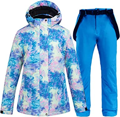 Womens Windproof and Waterproof Snowboard Colorful Ski Jacket and Pants Set