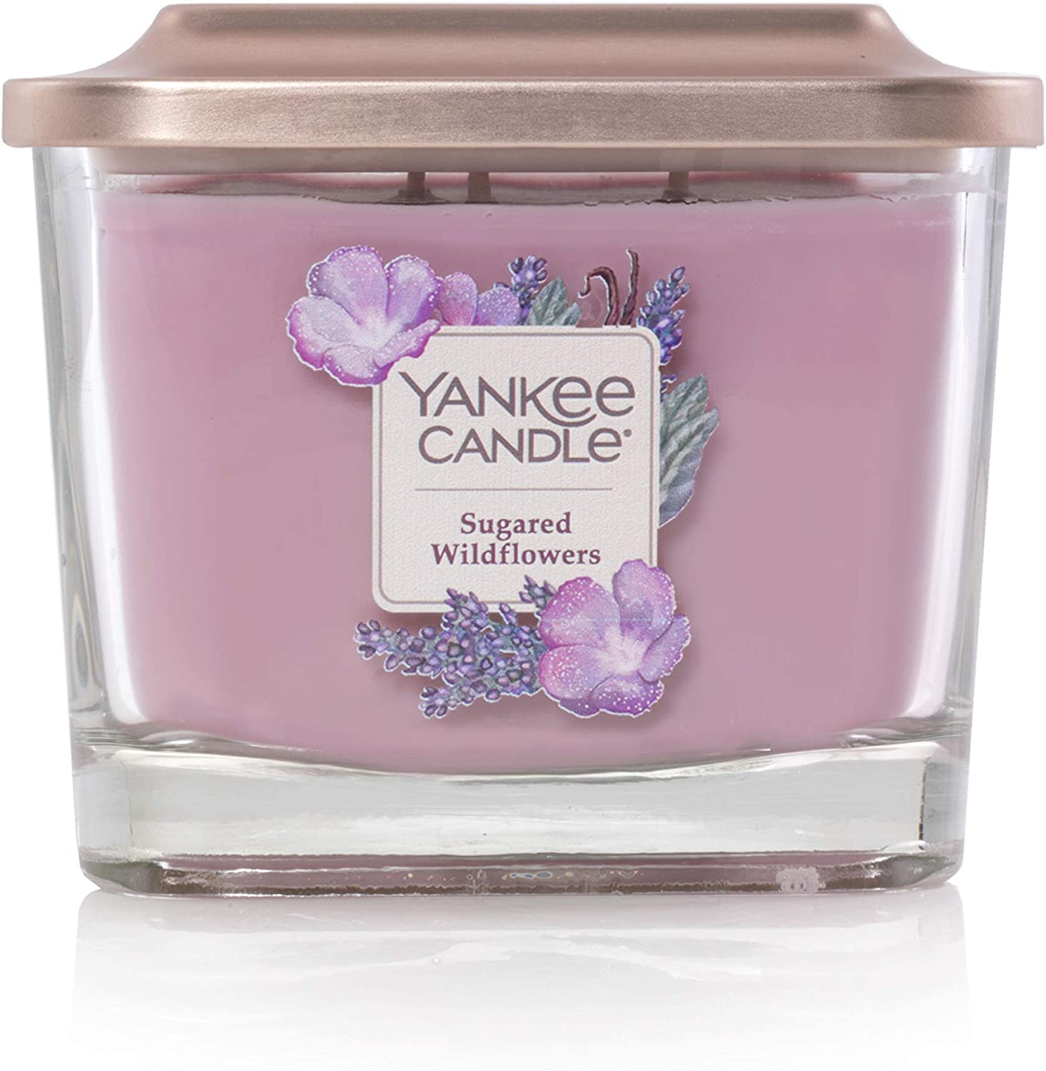 Yankee Candle Elevation Collection with Platform Lid Sugared Wildflower Scented Candle, Medium 3-Wick, 38 Hour Burn Time