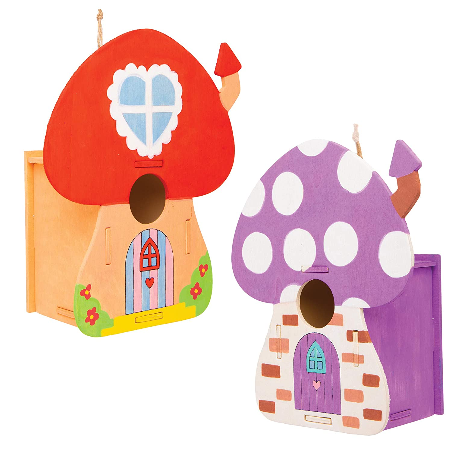 Mushroom Shape House Template for Children to Build and Decorate 2 Pack Baker Ross Fairy House Wooden Bird House Kits