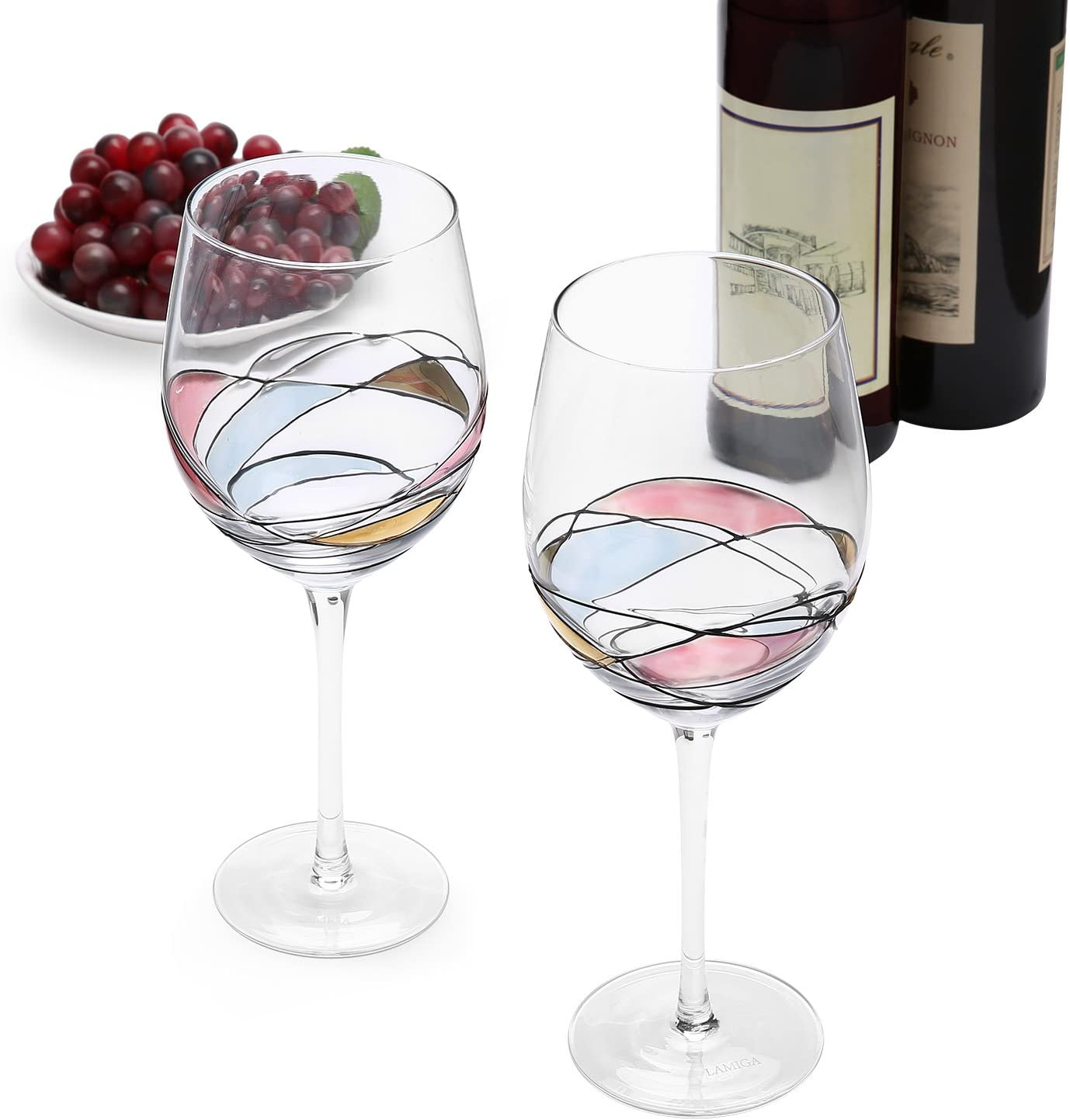 2, 20RW Red Tailed Hawk Raptor Laser Etched Large Red Wine Glass Set