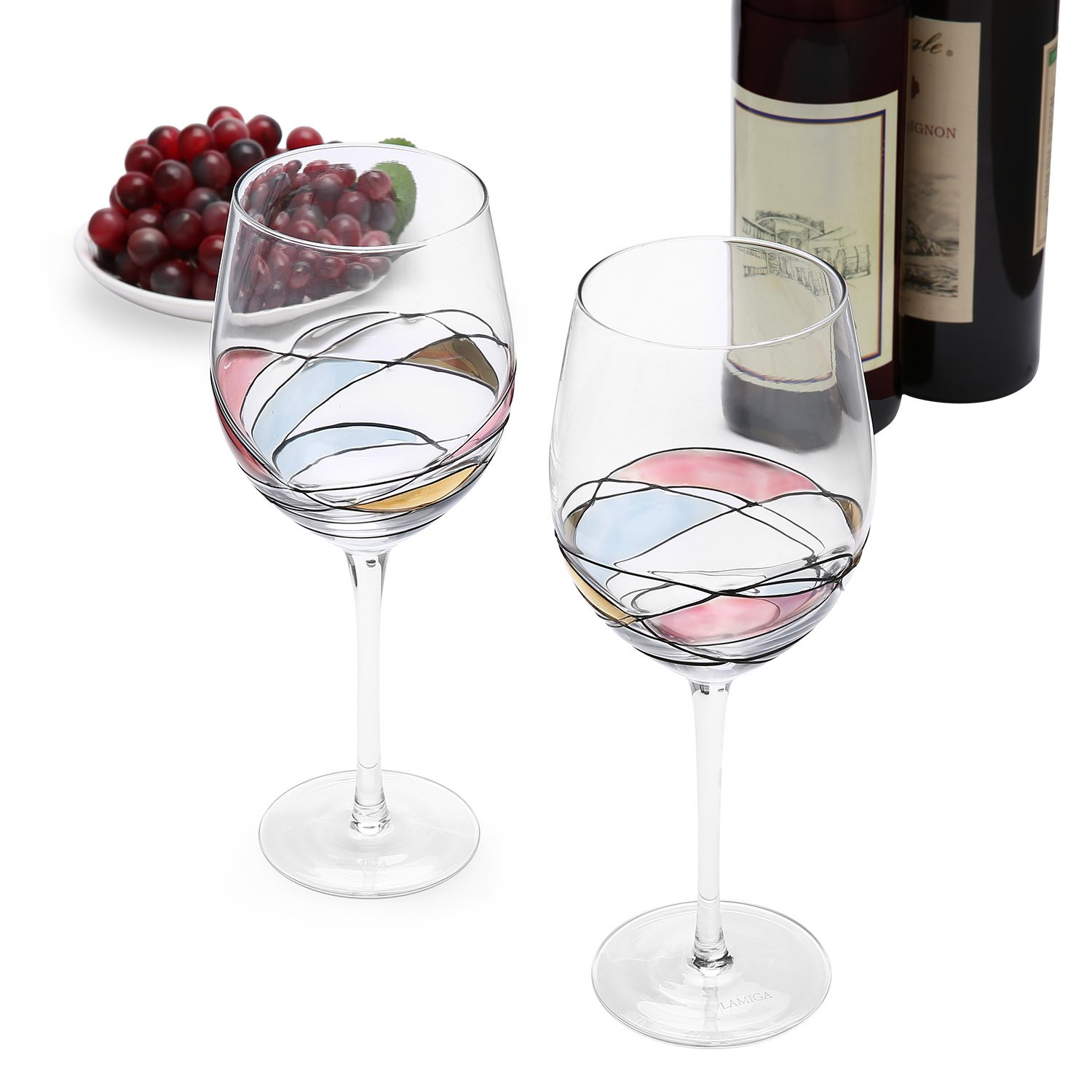 unique hand painted wine glasses easy red wine glasses set of lamiga unique hand painted for women men wedding anniversary couples engagement