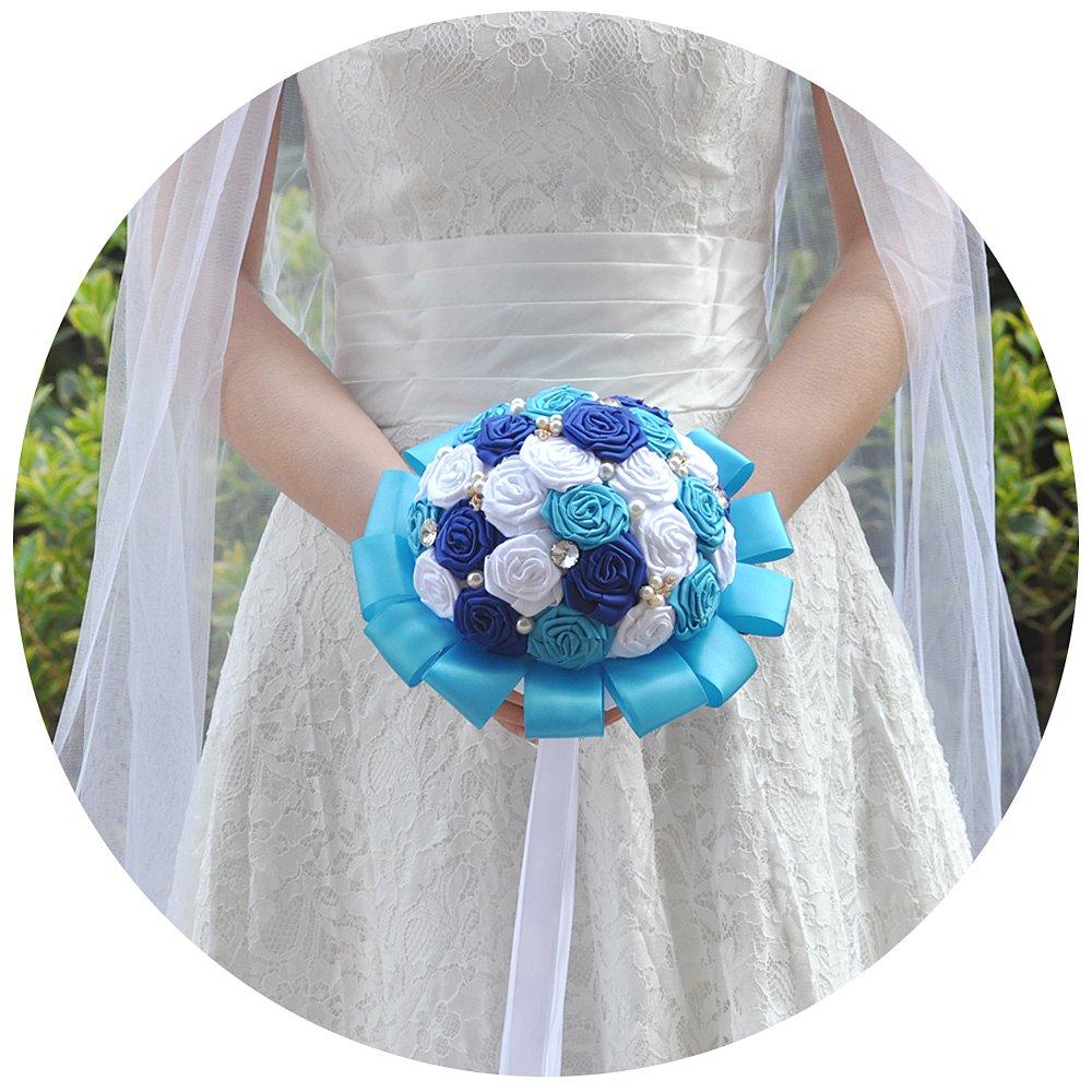 Azaleasウェディング花バラタッセルクリスタルパールウェディングブーケ、ウェディング花嫁Holding Bouquet Rosesブライダル人工シルクフラワーのウェディング F2-BL B07C2SP1TZ F2-blue