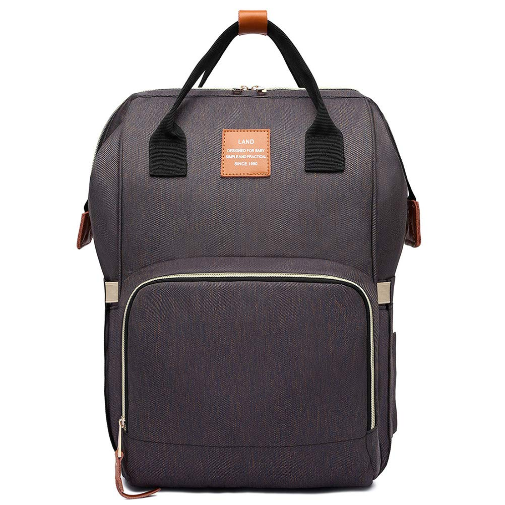 Large Capacity Water-Resistant Leather Tag HaloVa Diaper Bag Multi-Functional Portable Travel Backpack Nappy Bags for Baby Care Gray Stylish and Durable