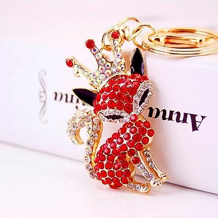 2dade803e60fd Amazon.com: Jzcky Shzrp Crown Fox Crystal Rhinestone Keychain Key Chain  Sparkling Key Ring Charm Purse Pendant Handbag Bag Decoration Holiday  Gift(Red): ...
