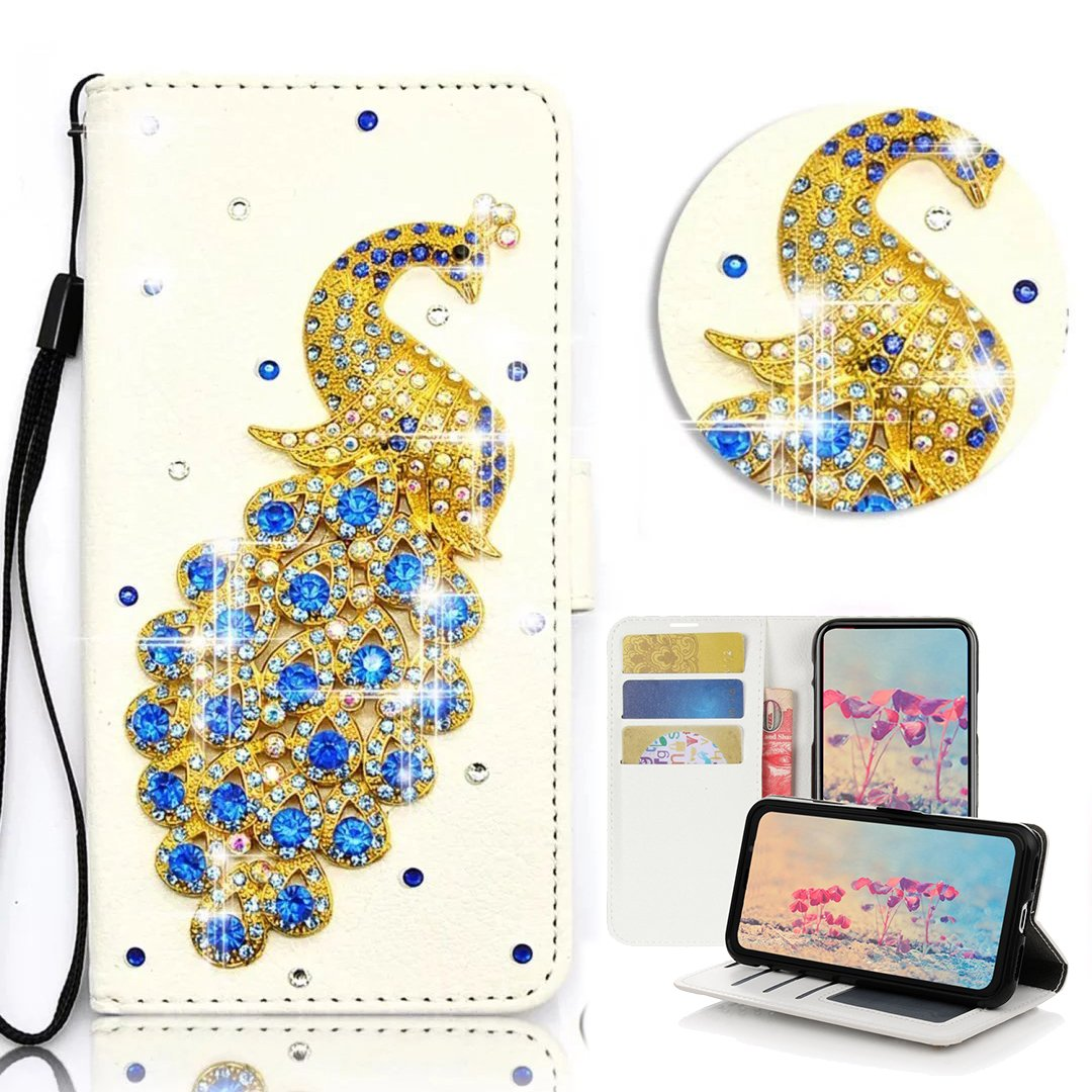 STENES iPhone 8 Plus Case - Stylish - 3D Handmade Bling Crystal Peacock Desgin Wallet Credit Card Slots Fold Media Stand Leather Case for iPhone 7 Plus/iPhone 8 Plus - Blue