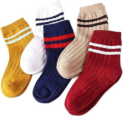 5 Par Calcetines de Canalé para Niños Algodón Invierno Calcetines Calientes, para Niños Niñas 3-5: Amazon.es: Ropa y accesorios