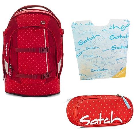 4b7fa0f23dc50 satch by Ergobag DOTTY Rot Gepunktet 3-teiliges Set Rucksack ...