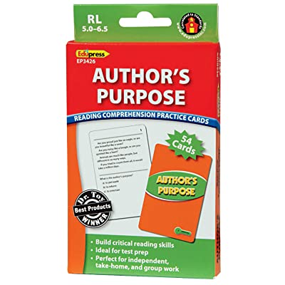 Edupress Reading Comprehension Practice Cards, Author's Purpose, Green Level (EP63426): Office Products