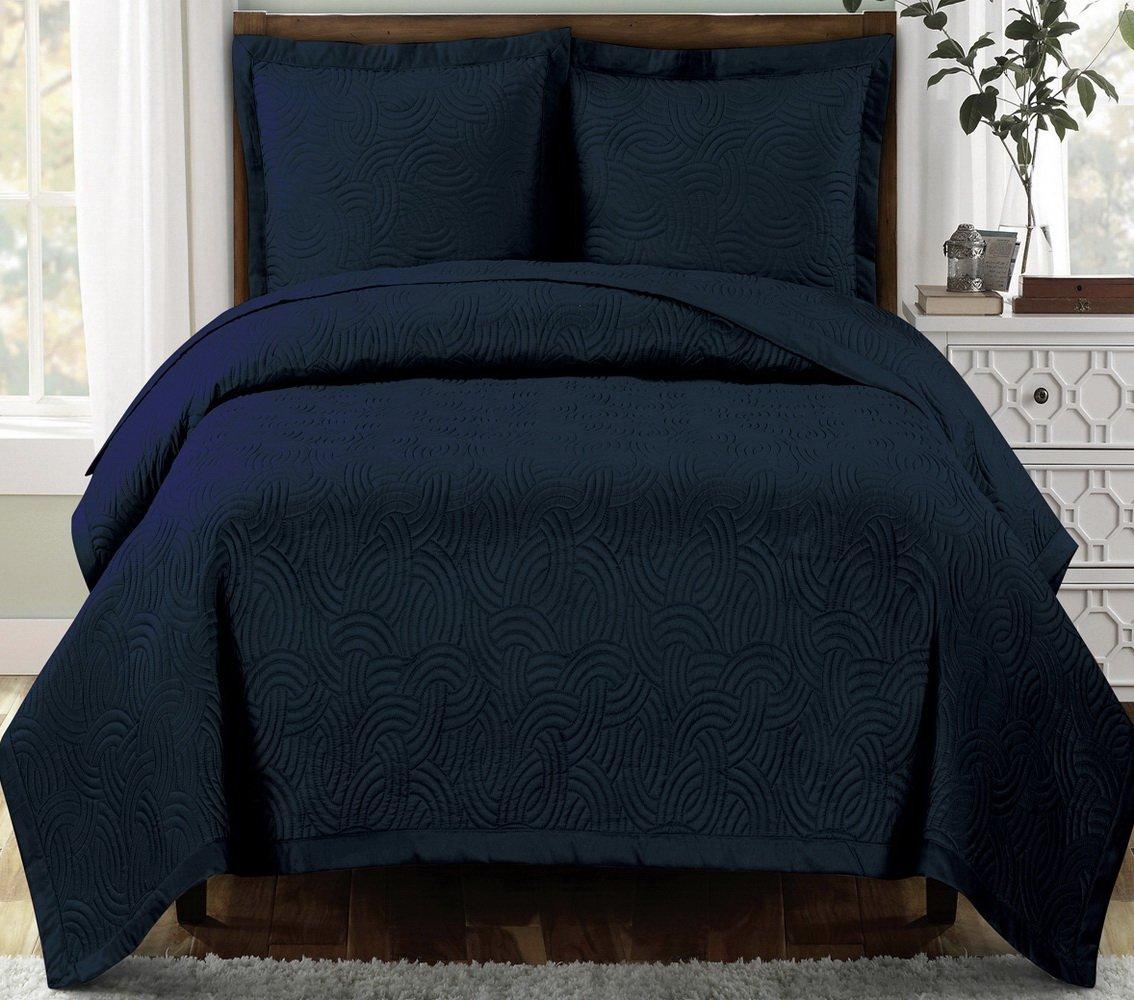 Modern Navy Blue Scroll Solid Lightweight Quilt Bedding Set King/Cal King Oversized