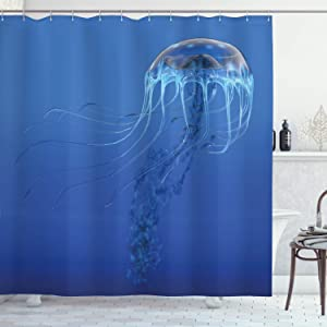 """Ambesonne Jellyfish Shower Curtain, Blue Spotted Jelly Fish Aquarium Life Marine Animals Ocean Predator in The Deep Water, Cloth Fabric Bathroom Decor Set with Hooks, 84"""" Long Extra, Blue"""