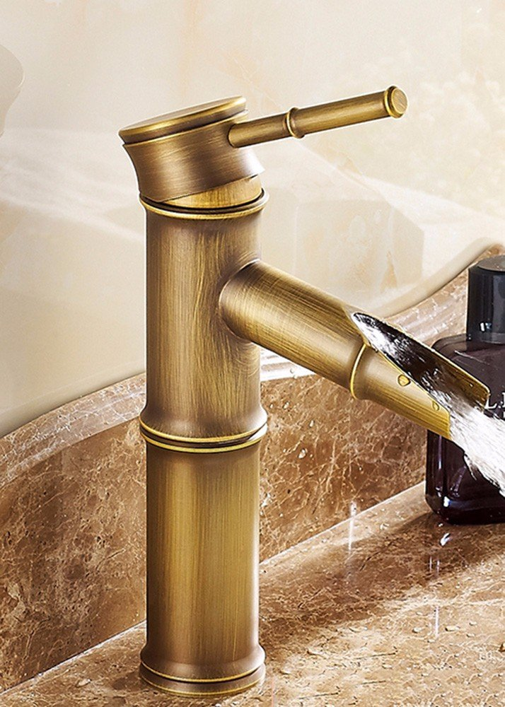 LSRHT Basin Taps Mixer Bathroom Sink Faucet Copper Sepia Basin Single Hole Brushed Sit-On Tb-02