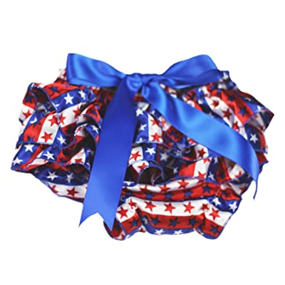 4th July America Flag Stripes Star Royal Blue Bow Bloomer Pantie Baby Girl 6-24m