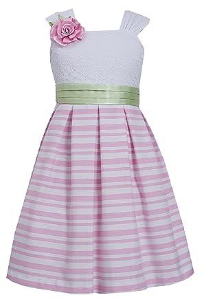 a789319fb8 Amazon.com  Bonnie Jean Little Girls 4-6X Pink White Lace and Stripe ...