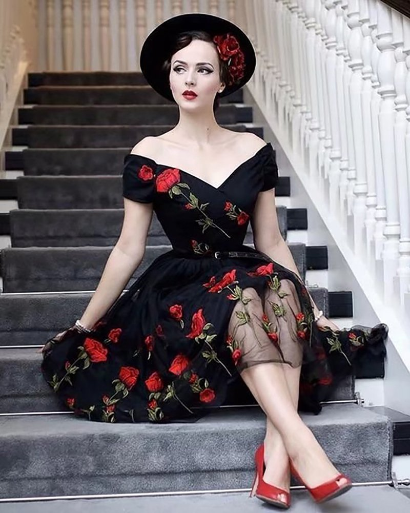 Aofur Women's Vintage Style Rose Embroidered 1950s Rockabilly Evening Party Lace Swing Tea Dress A Line Dresses (XX-Large, Black_Red_Rose) by Aofur (Image #5)