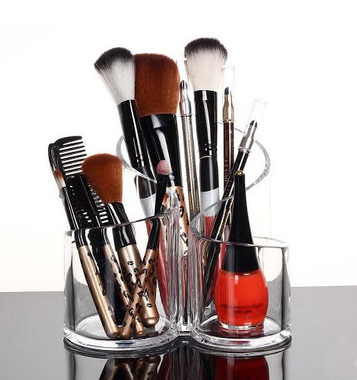 Pu Two Acrylic Makeup Brush Holder Desk Organizer Cosmetics Organizer Lipstick Organizer, Round, 370 Gram by Pu Two