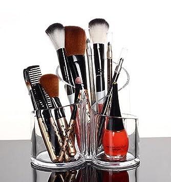 PuTwo Makeup Organiser Brush Holder Birthday Gifts For Her Acrylic Desk Round