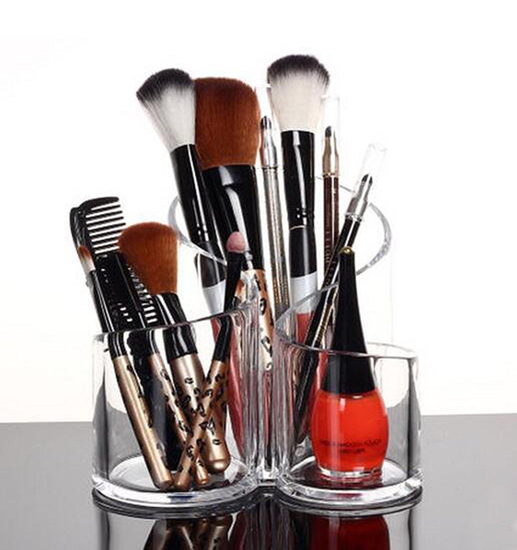 PuTwo Acrylic Makeup Brush Holder Desk Organizer Cosmetics Organizer Lipstick Organizer, Round, 370 Gram