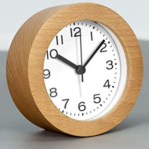 AROMUSTIME 3-Inches Round Wooden Alarm Clock with Arabic Numerals, Non-Ticking Silent, Backlight, Battery Operated, Nature