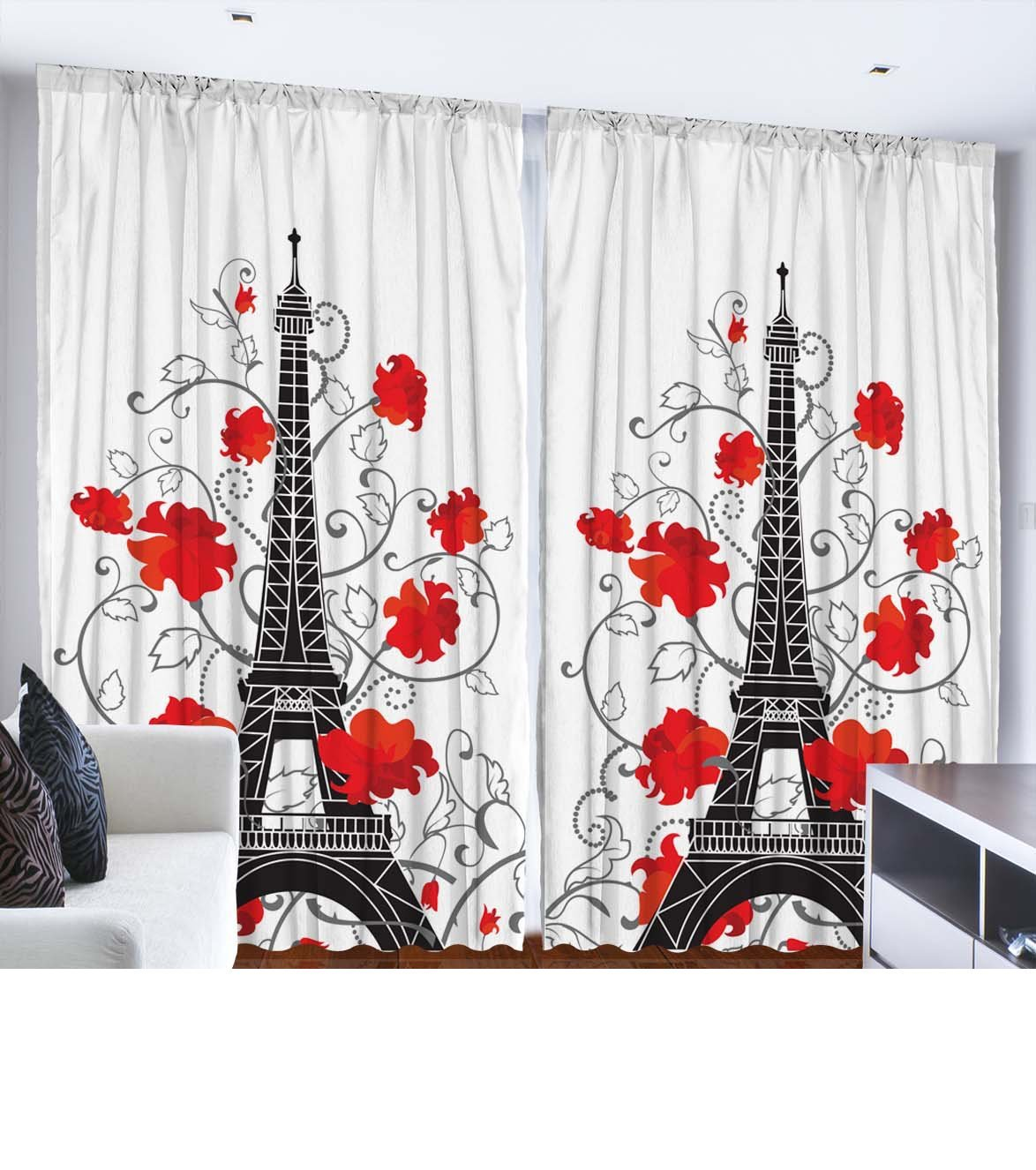 Amazon com eiffel tower paris decor for bedroom digital print curtains city decor living room decorations accessories french style paris curtain two panels