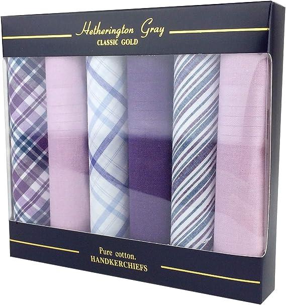 6 Pack Mens Boxed 100/% Cotton Tartan Handkerchiefs
