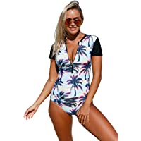 EVALESS Womens Beach Sunset Printed Zip Front Short Sleeve One Piece Swimsuit Bikinis Large