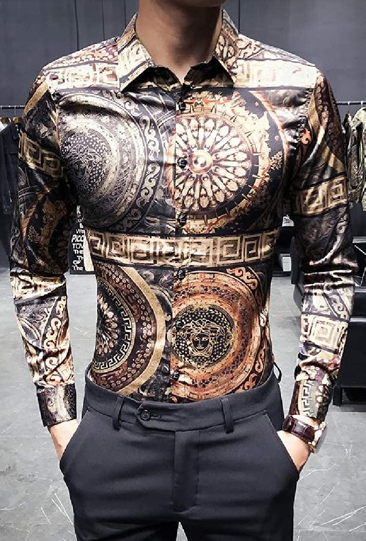 Wofupowga Mens Casual Slim Fit Long Sleeve Button Front Printed Club Shirts