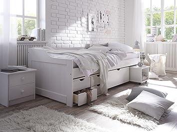 Kinderbett weiß 90x200 bettkasten  Kinderbett Funktionsbett 90x200, CRAVOG Weiß lackiert Massivholz ...