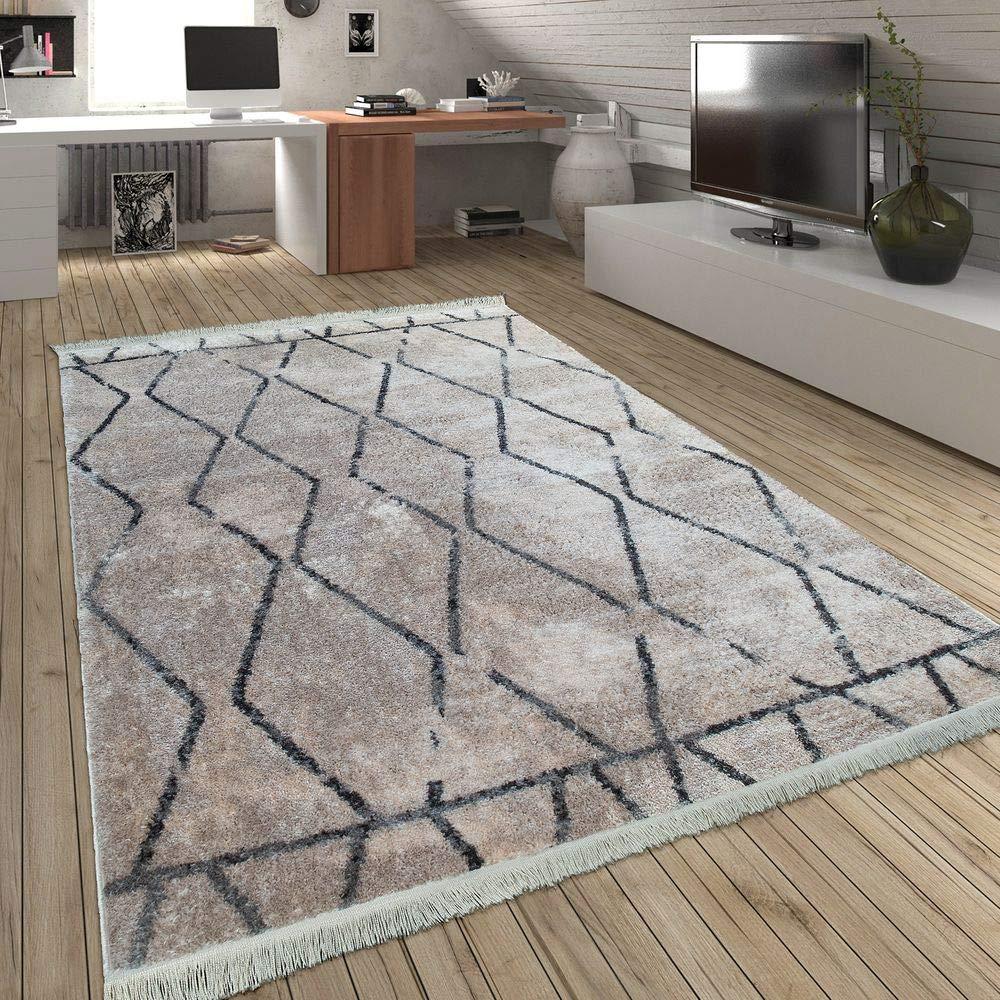 Paco Home Teppich Wohnzimmer Rauten Fransen Skandinavisch Muster Karo In Creme Grau, Grösse:160x230 cm