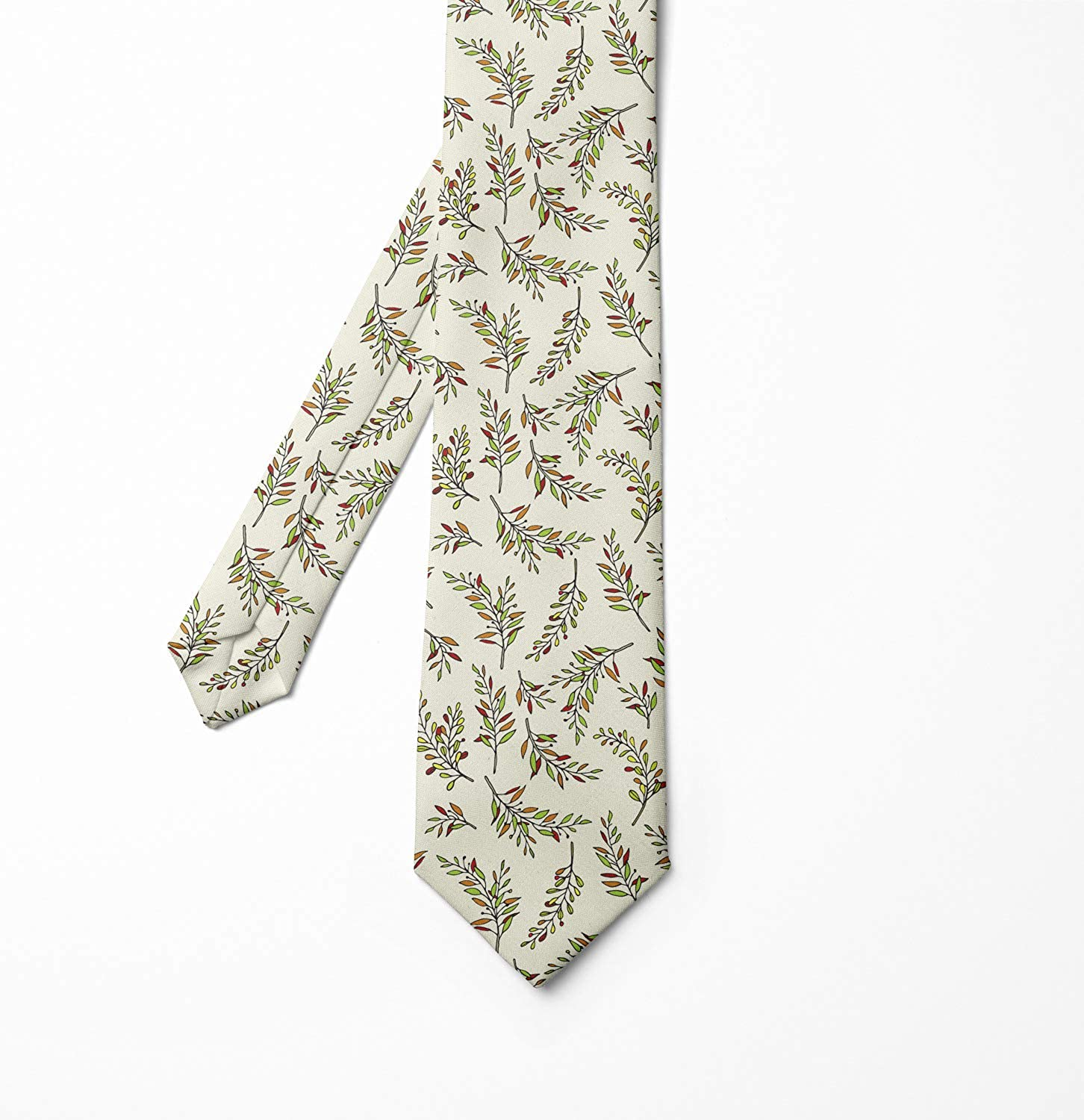 Ambesonne Mens Tie Seasonal Leaves Branches 3.7 Lime Green Ivory Ginger