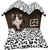 Pet House Cat Bed with Indoor Removable Cushion Mat Dog Bed Double Roof House For Small Dogs & Cats Sleep