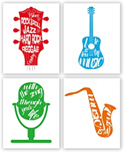 Colorful Musical Instrument Wall Art Print-- Music Room or Classroom Decor-- Inspirational Music Quote Canvas Print ( Set of 4 )--Unframed--8X10 inch