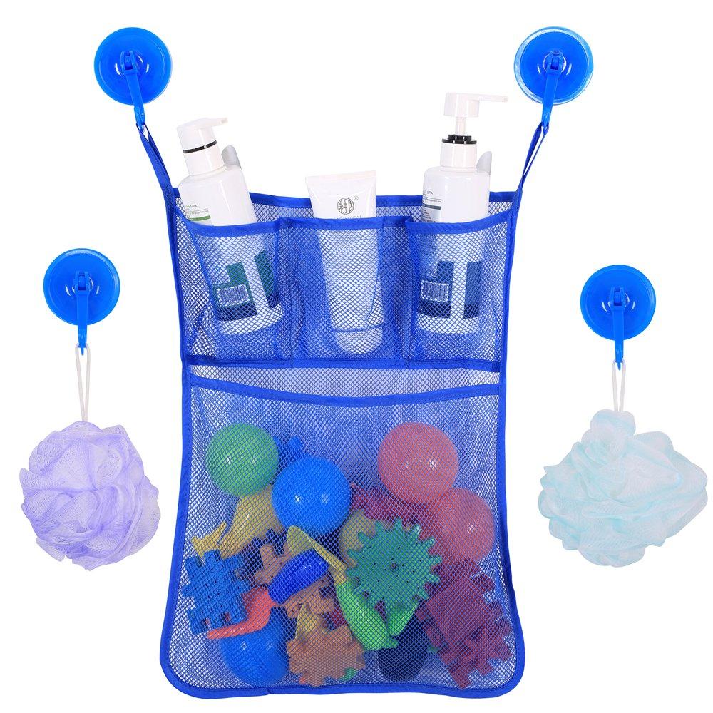 BrilliantDay Rangement de jouets de bain pour bébé avec 2 crochets adhésifs ultra-résistants - Grand rangement de jouets pour garçons et filles et panier de douche#1