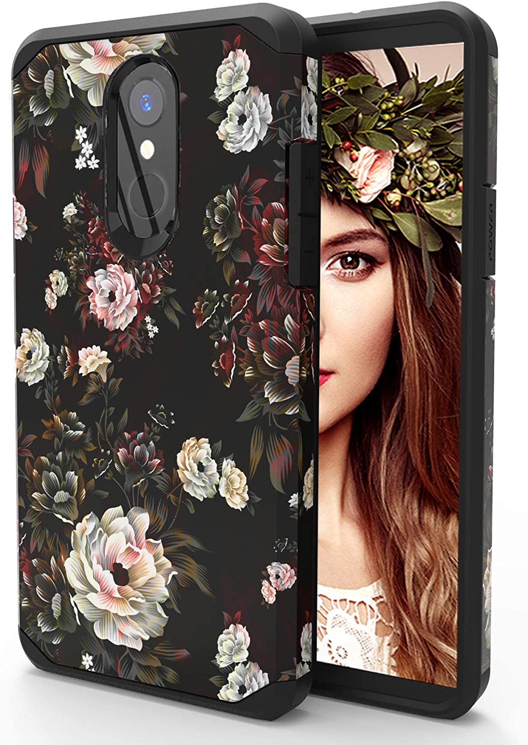 LG Stylo 4 Phone Case,LG Stylo 4 Plus,LG Q Stylus, LG Stylo 4 Case with Tempered Glass Screen Protector,PC+TPU Dual Layer Anti-Scratch Hybrid Shockproof Drop Protective Case for Women,Girls (Floral)