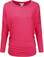 JJ Perfection Women's Stretchy Lightweight Boat Neck Long Sleeve Dolman Top