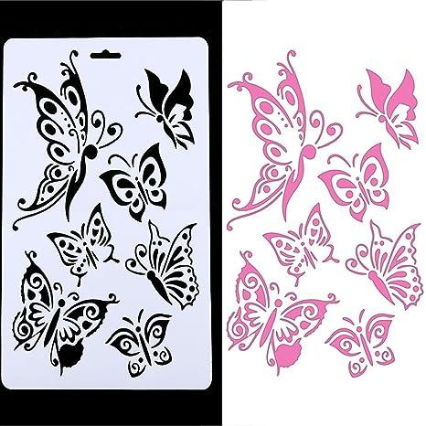 Plantilla hueca en relieve, mariposa DIY corte plantillas DIY moldes de plantillas, álbumes de