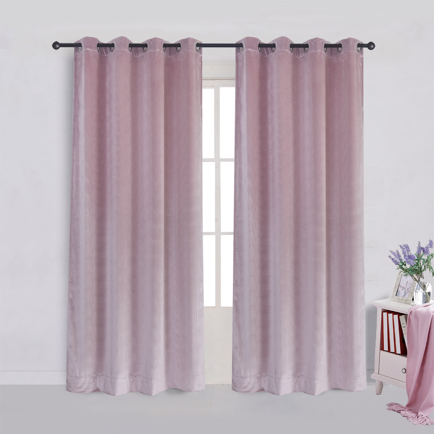 Super Soft Luxury Velvet Curtains Set of 2 Pink Flannel Blackout Drapes Grommet Draperies Eyelet 52Wx120L inch (2 panels) with Tiebacks
