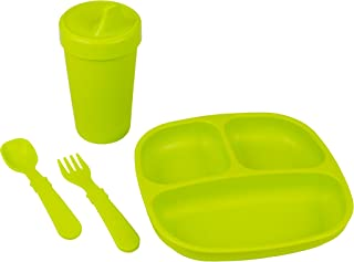 product image for Re-Play Made in The USA Toddler Diner Set | Divided Plate, No Spill Sippy Cup, Utensil Set | Eco Friendly Heavyweight Recycled Milk Jugs - Virtually Indestructible | Lime Green