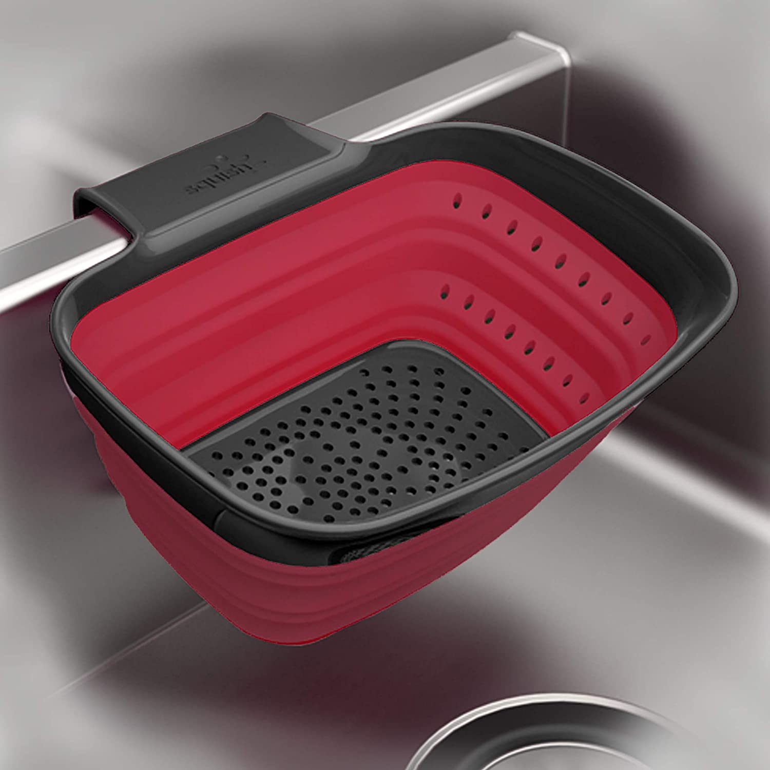 Squish 2 Quart Over The Sink Arm Collapsible Colander - Red & Gray
