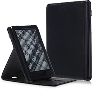 MonsDirect Folio Case for All-New Kindle (10th Generation, 2019) / Kindle (8th Generation, 2016), PU Leather Case Protective Cover Vertical Stand Auto Wake/Sleep,NOT fit for Kindle Paperwhite,Black