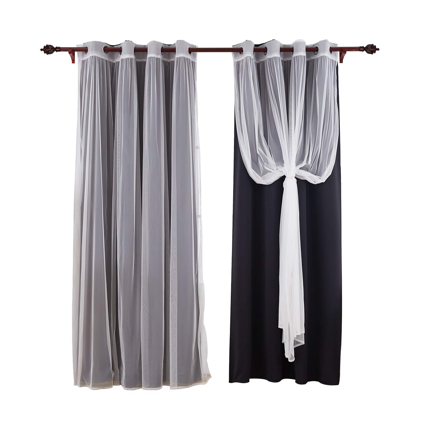 Deconovo Grommet Thermal Insulated Curtains Mix and Match Curtains Blackout Drapes and Tulle Lace Sheer Curtain Panels For Living Room Chocolate Two Pairs 52 X 63 Inch (Two Blackout Curtains and Two Sheer Curtains)