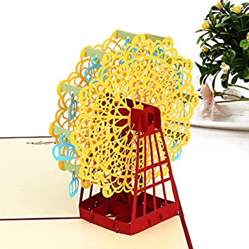 3D Laser Cut Ferris Wheel Greeting Cards Anniversary Christmas Mother/'s Day G