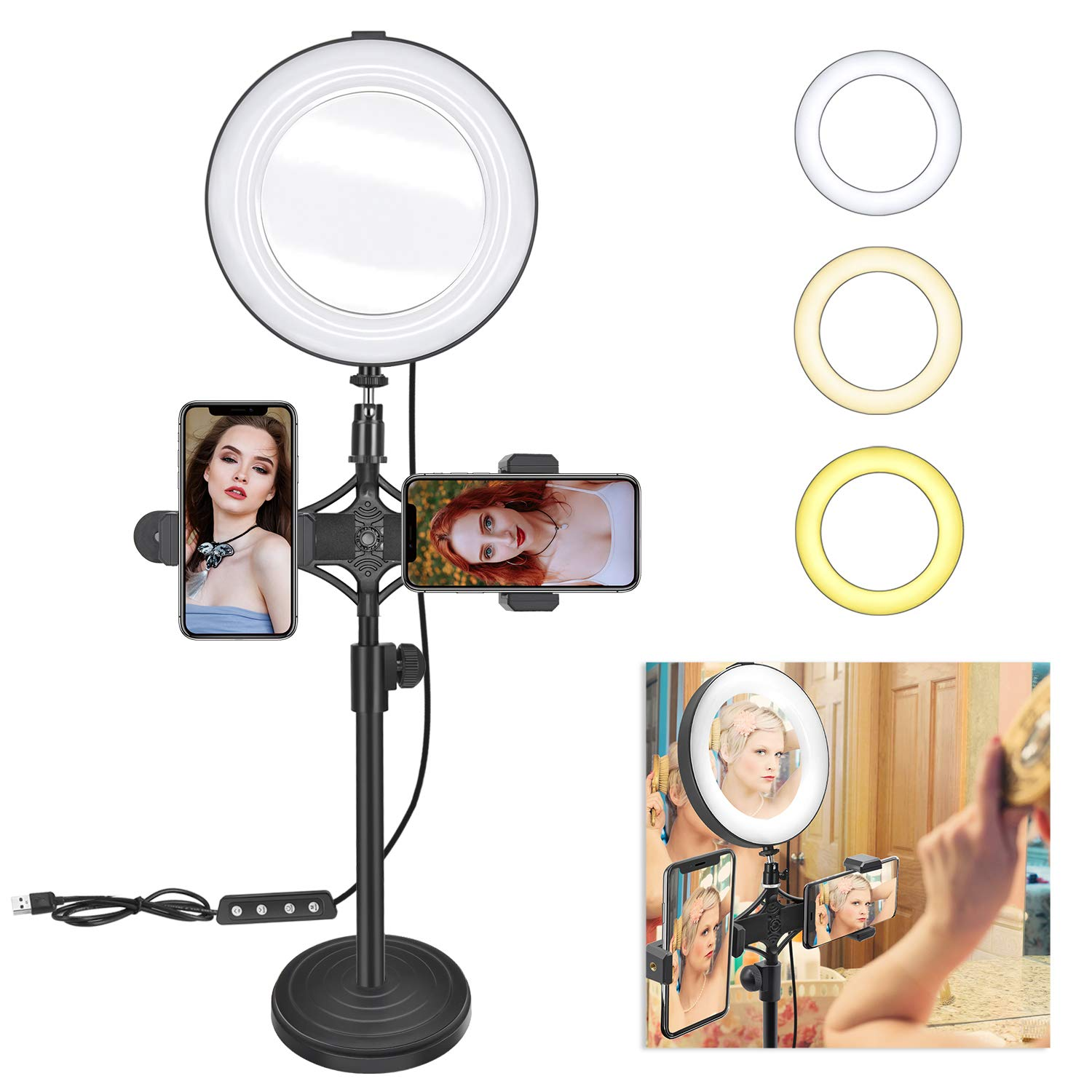 8'' Ring Light Mirror for Selfie/YouTube Video and Live Makeup/Photography, MDrebel Dimmable LED Ring Light with Stand and Phone Holder, Shooting with 3 Light Modes & 10 Brightness Level by MDrebel