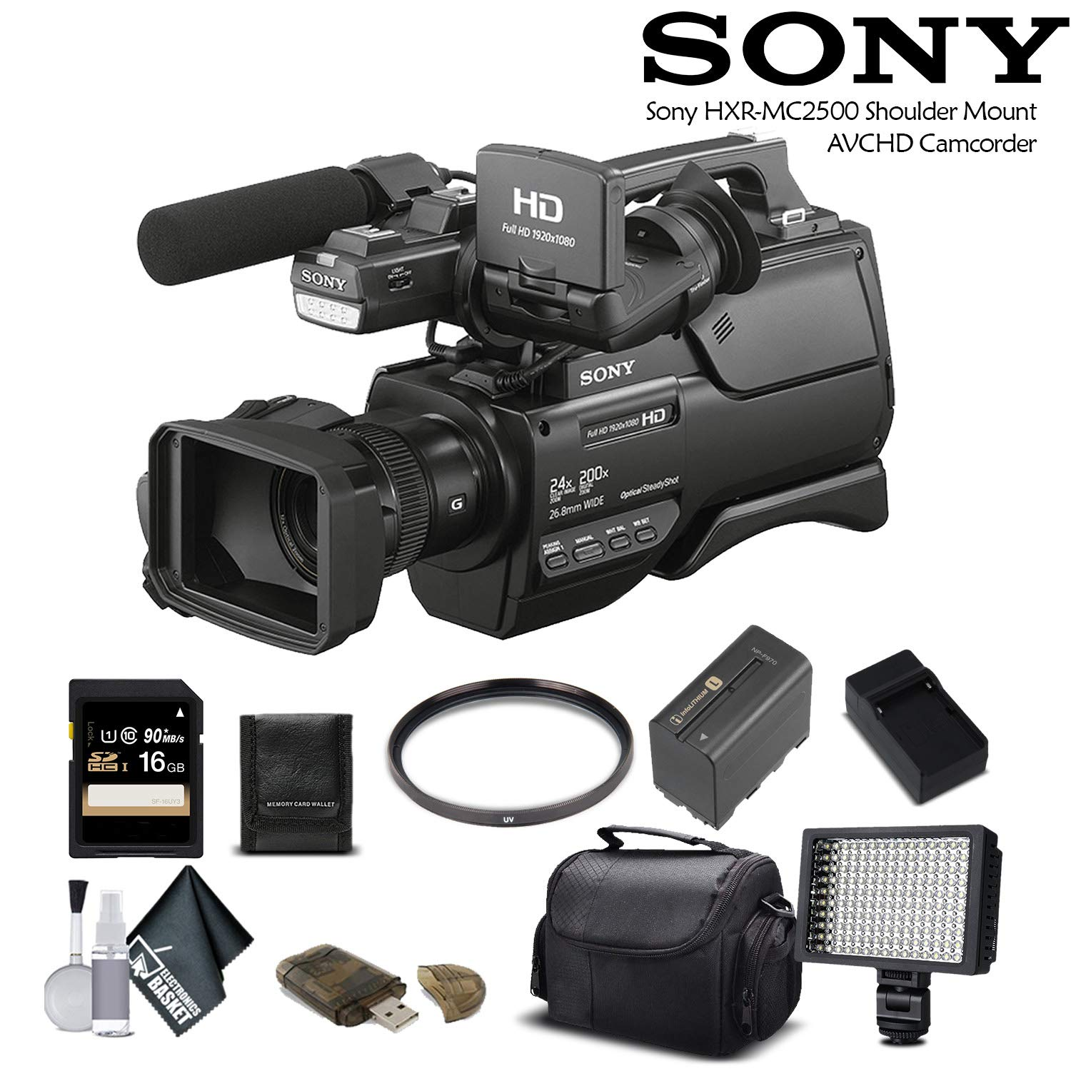 Sony HXR-MC2500 Shoulder Mount AVCHD Camcorder (HXR-MC2500) with 16GB Memory Card, Extra Battery and Charger, UV Filter, LED Light, Case and More. - Starter Bundle