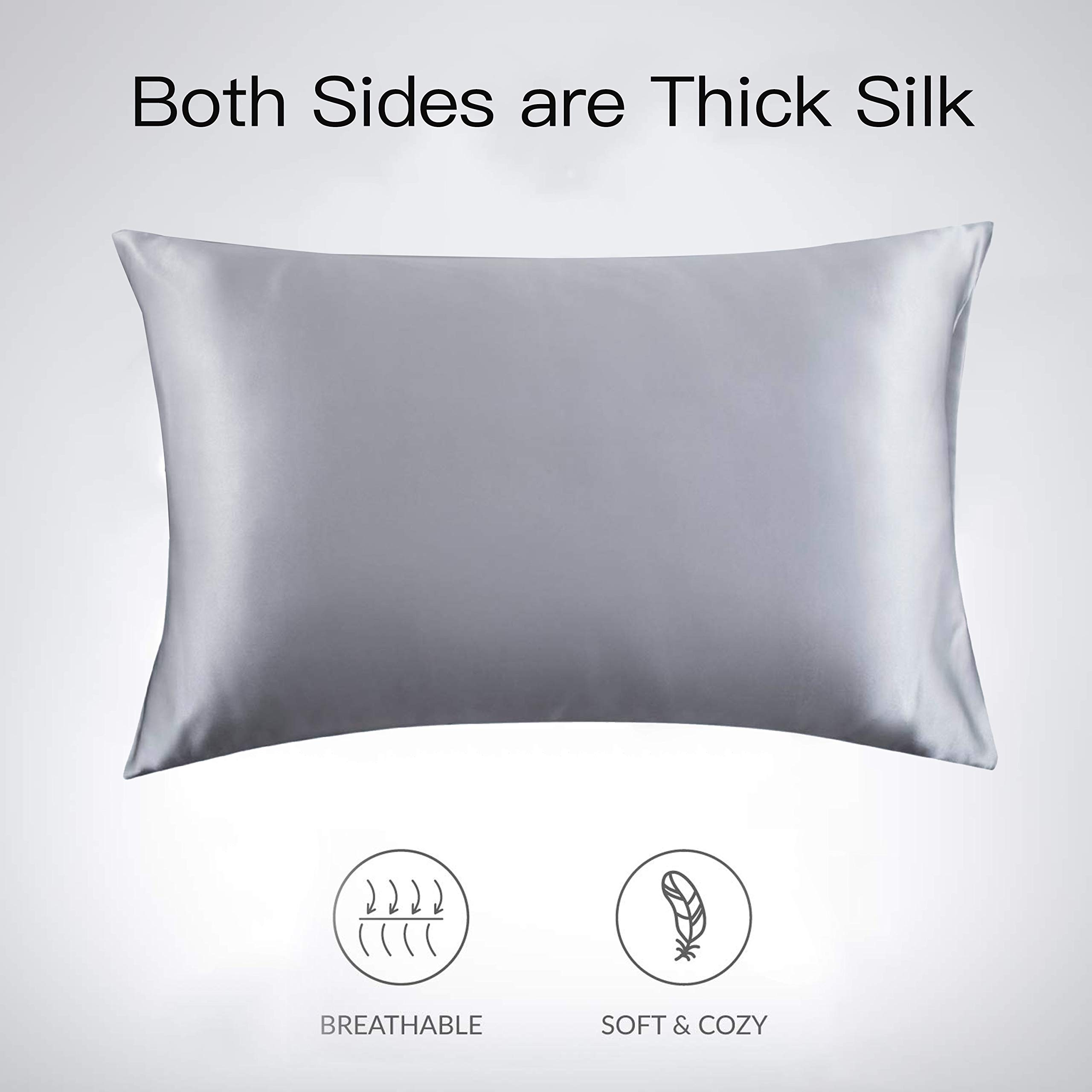 ZHOUBIN Soft-Silky Natural Silk Pillowcases with Both Sides Luxurious 25 Momme Silk and Hidden Zippered for Hair and Skin(1 Pack,20×30\