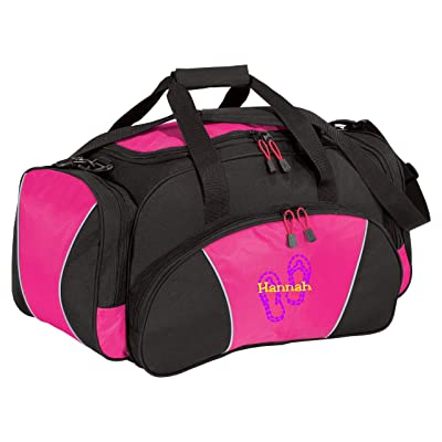 Personalized Flip Flop Metro Duffel Gym and Travel Bag (Tropical Pink)