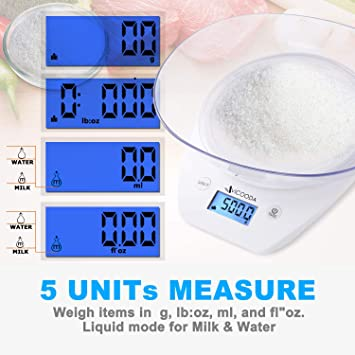 3faa29367141 Vicooda Digital food Scale, Kitchen food weight scale Electronic  Multifunction Meat Food Scale with Removable Bowl, Baking & Cooking Scale,  LCD ...