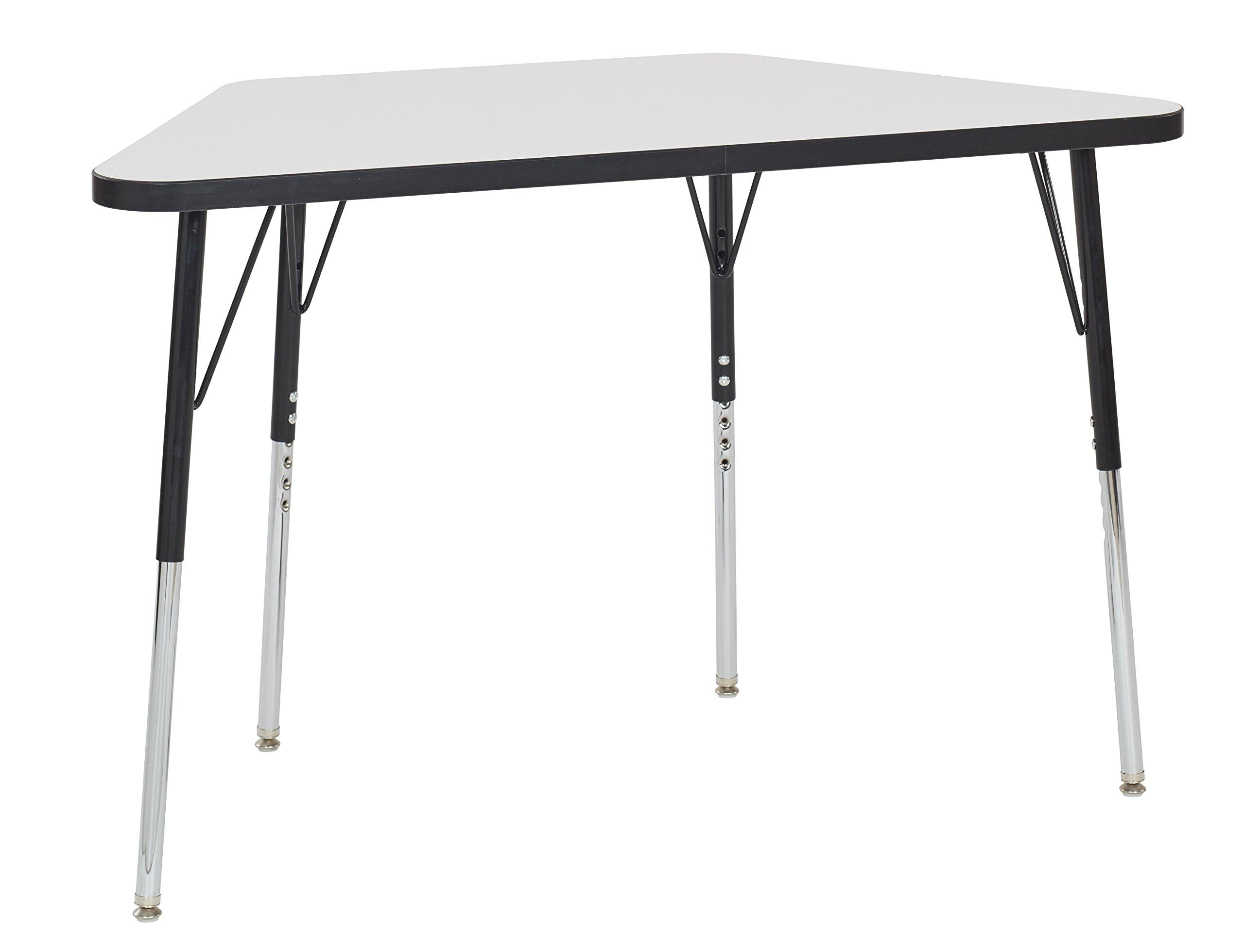 ECR4Kids Mesa Dry-Erase 24'' x 48'' Trapezoid School Activity Table, Standard Legs w/ Swivel Glides, Adjustable Height 19-30 inch (Black)