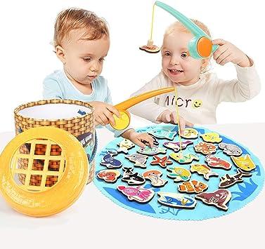 Montessori Wood Fishing Magnetic Game Sea Animal Boy Girl Kid Education Toy Gift
