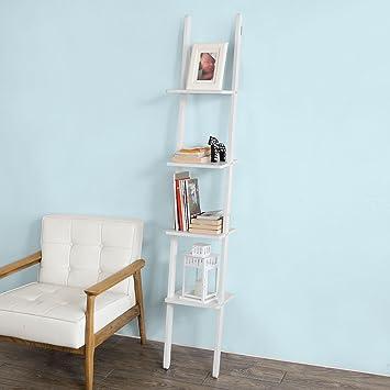 SoBuy®- Estanterías de Escalera, estantería de baño, estantería de Libros, con Cuatro estantes, B29XT29XH180 cm, MDF, Color Blanco, FRG165-W: Amazon.es: Juguetes y juegos