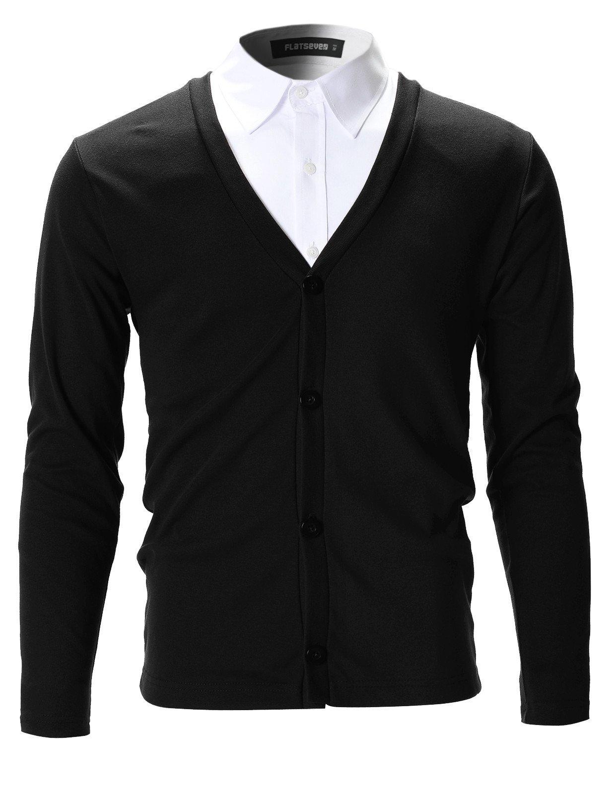 FLATSEVEN Mens Slim Fit Stylish Button up Cardigan (C100) Black, XS